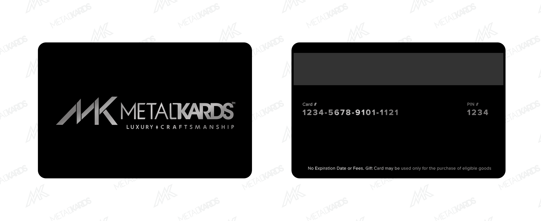Black Metal Cards with Silver Printing